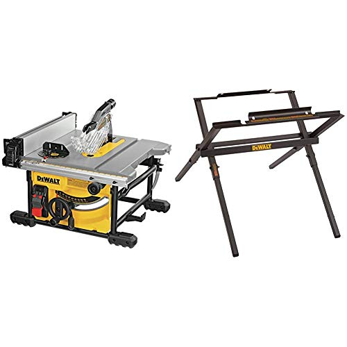 DEWALT Table Saw for Jobsite, Compact, 8-1/4-Inch (DWE7485) & Table Saw Stand for Jobsite, 10-Inch (DW7451)