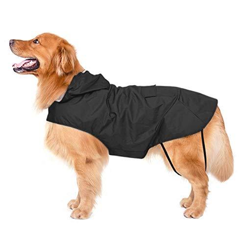 Bwiv Impermeabile per Cani Extra Large con Cappuccio con Strisce Riflettenti Giacca Antipioggia per Cani 100% Impermeabile Nero 6XL