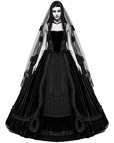 Punk Rave Vestido de novia gótico largo negro terciopelo steampunk VTG victoriano baile