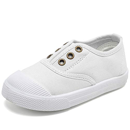 Kids Canvas Sneaker Slip-on Baby Boys Girls Casual Fashion Shoes-CAND041-White-25N1
