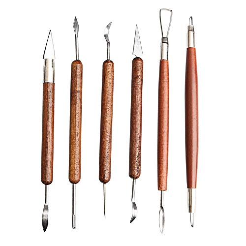 S & E TEACHER'S EDITION 6 Pcs Pottery & Clay Sculpting Tools, Double-Sided, Smooth Wooden Handles.