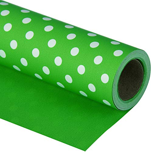 WRAPAHOLIC Reversible Wrapping Paper - Green and Polka Dot Design for Birthday, Holiday, Wedding, Baby Shower Wrap - 30 inch x 33 feet
