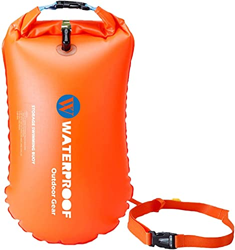 MOCHENG Flotador de seguridad inflable impermeable para deportes acuáticos, flotadores de natación al aire libre, flotadores y bolsa seca para navegación/pesca/camping