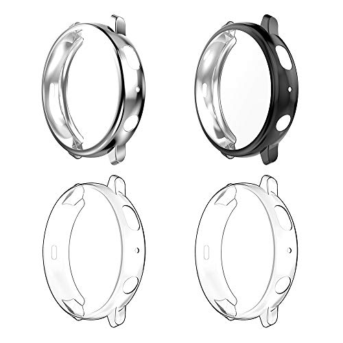 WD&CD (4 Pack) Case Compatible with Samsung Galaxy Watch Active 2 44mm, Screen Protector Heavy-Duty Full Around Soft TPU Anti-Scratch Smartwatch Protective Cover - Transparent, Black, Silver
