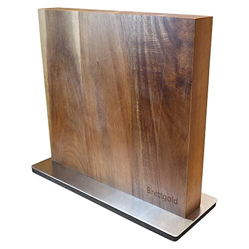 Brettgold Messerblock aus Akazienholz beidseitig magnetisch - Messerhalter Magnet Messer Block Holz Akazie
