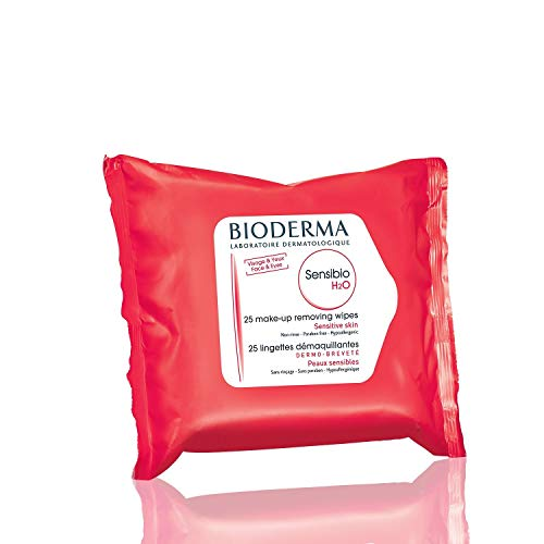Bioderma Sensibio H2O Biodegradable Soothing Cleansing and Makeup Remover Wipes for Sensitive Skin - Face and Eyes - 25 count