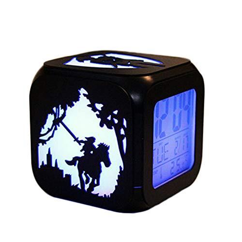 ZhangXF Legend Wood Kreative 3D Stereo Kleine Wecker LED Nachtlicht Elektronische Uhr Nachttischuhr Schlafzimmer Geburtstagsgeschenk,B:Batterybox+USBcable