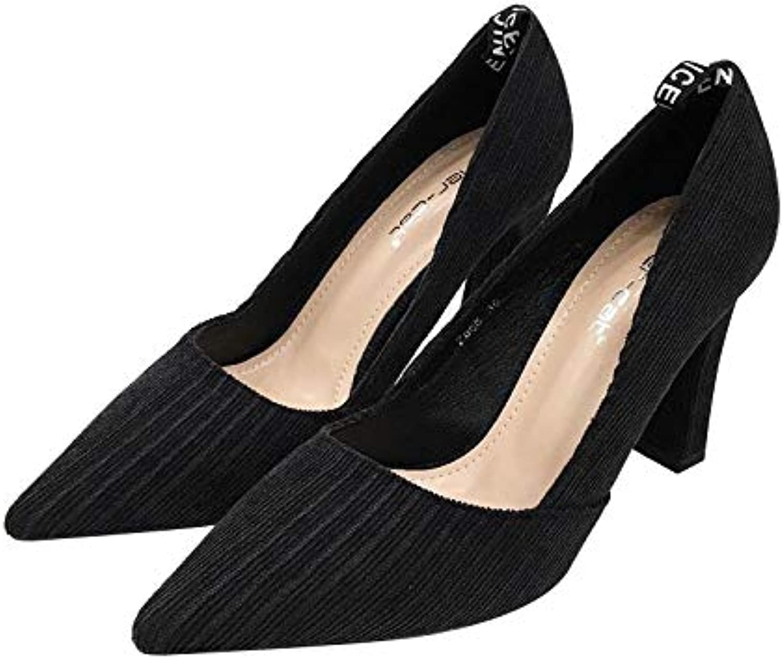 HRCxue Pumps Pumps Pumps High Heels Damenmode gestreift sexy schwarzen professionellen flachen Mund mit Spitzen Einzelschuhen, 34, schwarz  b2a7b6