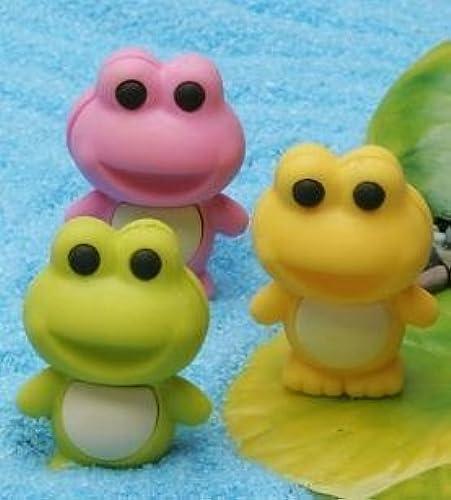Iwako Japanese Eraser Frogs- 3 Farbes Gelb, Grün & Rosa by Iwako