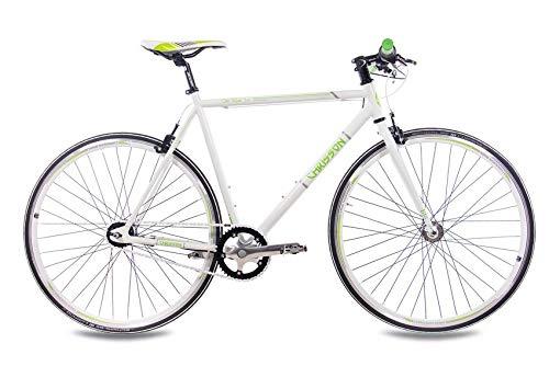 CHRISSON 28 Zoll Retro Rennrad Vintage Bike - Old Road 2.0 Weiss 56 cm mit 7 Gang Shimano Nexus Nabenschaltung und Rücktrittbremse, Urban Old School Fahrrad für Damen und Herren