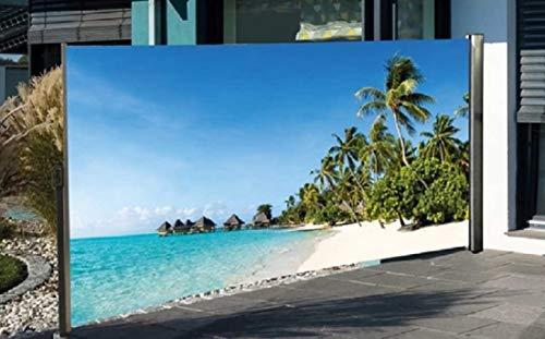 Nativ Seitenmarkise mit Fotodruck Südsee Auszug Links, 180 cm hoch