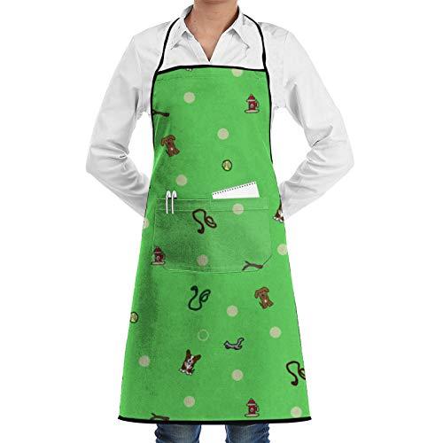 Frftgxcdf Dog Park - Delantal de bolsillo verde, delantal de cocina, delantal de barbacoa, delantal de barista, delantal de cintura de camarera, delantal de parrilla personalizado