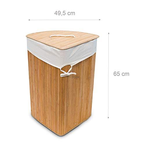 Relaxdays Eckwäschekorb Bambus, faltbar, 64L, 49,5x37x65cm - 4