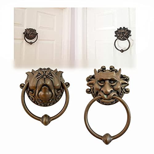 2pcs Aldabas De Puerta Laberinto,Aldaba Decorativa Para Puerta De Entrada,LeóN De Bronce Antiguo CláSico Para Puertas Delanteras, Para Accesorios De Porches.