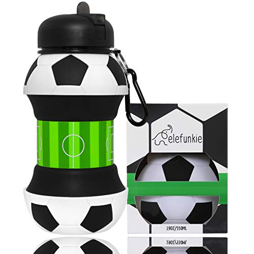 Kids Water Bottle by elefunkie – Football Gifts for Boys – Unique Water Bottle for Kids, Collapsible - Childrens Water Bottle, BPA Free - Boys Water Bottle 500ml, Free eBook Name Tag