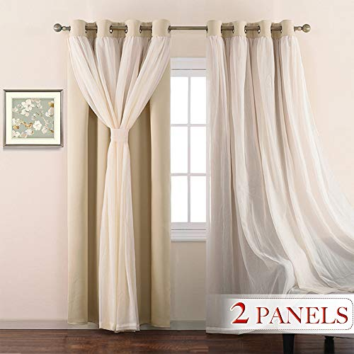 NICETOWN Double-Layer Mix & Match Dressing Biscotti Beige Sheer Plus Blackout Curtains for Sliding/Patio Door, Window Treatment Draperies (1 Pair, 95-inches Long, Tie Backs Included)