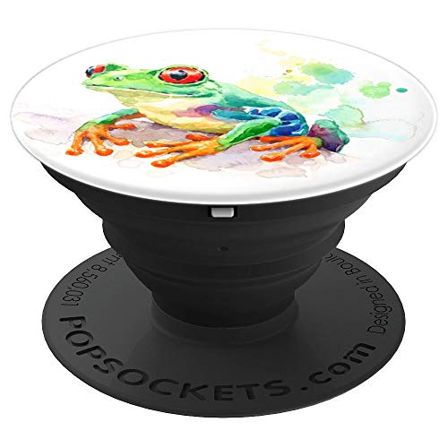 Frog Watercolor Cute Frogs Lover Gift on White PopSockets Grip and Stand for Phones and Tablets