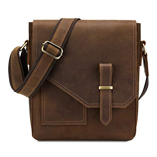 Kattee Leather Messenger Bag for Men Small Shoulder Bag Crossbody Bag