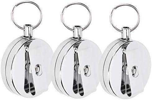 3 stuks intrekbare sleutelhanger draad sleutelhangers telescopische draad touw sleutelhanger antidiefstal riemclip