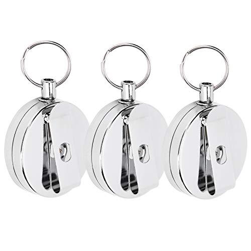 Labuduo Keychains, Portable 3Pcs Key Clip, Elastic Telescopic for Outdoor Key