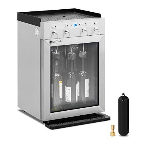 Royal Catering Distributeur De Vin Au Verre Cave À Vin Frigo Réfrigérateur RC-WDSS4 (Puissance 120 W, 4 Bouteilles, 7-18 °C, Afficheur LED, Inox, Verre, Plastique)