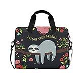 ALAZA Faultier mit Blumen Zitat Follow Your Dream Laptoptasche, tragbare Umhängetasche,...