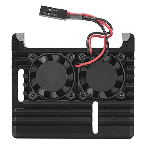 Caja de refrigeración silenciosa de 2,6 x 2,2 x 0,9 pulgadas, caja protectora, aleación de aluminio negra para computadora de escritorio