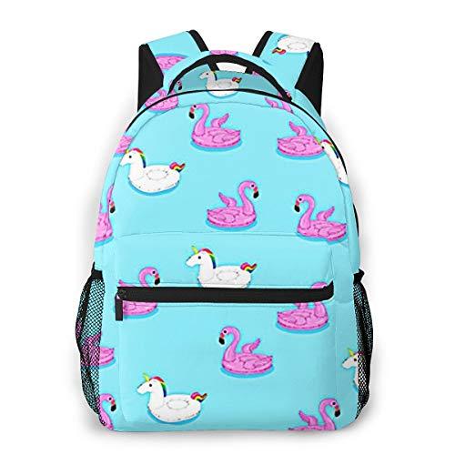 Laptop Rucksack Schulrucksack Schwimmendes Flamingo Pferd, 14 Zoll Reise Daypack Wasserdicht für Arbeit Business Schule Männer Frauen