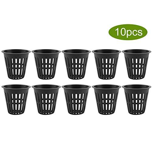 DaMohony Cestas Hidropónicas Taza de Cesta Hidropónica de Plástico Duradero para La Plantación de Jardines (Negro 10Pcs / Set)