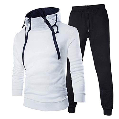YSWD Men Sweatshirt Long-Sleeved Winter Personality Double Zipper Contrast Color Hooded Trousers Suit White