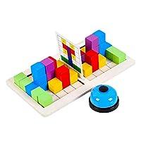 DeeRace 木製に対するブロックビルディングブロックゲーム論理的思考カラフルなパズル頭の体操玩具age 3