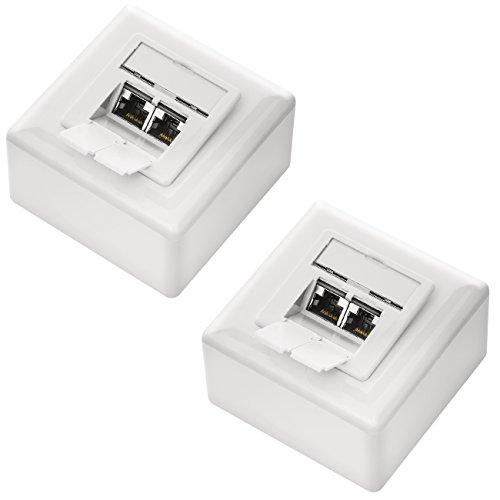 deleyCON 2X CAT 6 Universal Netzwerkdose - 2X RJ45 Port - Geschirmt - Aufputz oder Unterputz - 1 Gigabit Ethernet Netzwerk - EIA/TIA 568A&B - Weiß