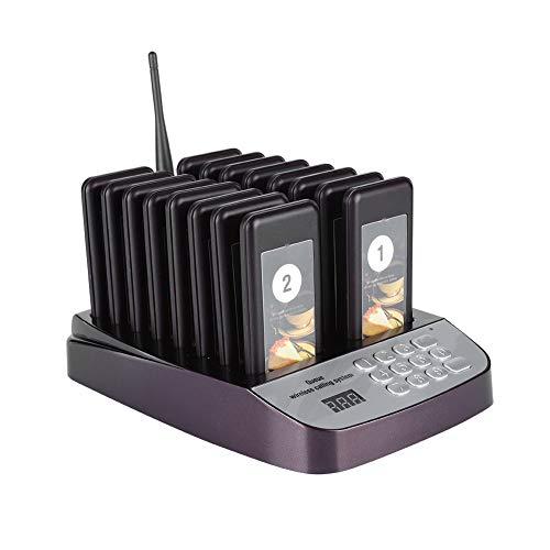 Restaurant Pager-systeem, Wachtrij-oproepsysteem met 999-kanaals toetsenbord Draadloos bellen 16 Draadloze pagers, Paging-oproepsysteem Trilling/zoemer/vibratie + zoemer(Fuchsia)