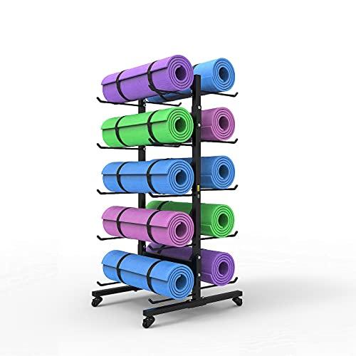 PTY Carro de Almacenamiento Grande para esterillas de Yoga con Ruedas, Organizador de Rodillos de Espuma de Metal para Gimnasio, para el hogar y el Gimnasio, Negro