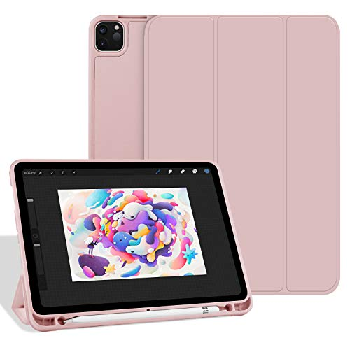 Aoub Case for iPad Pro 11 2020 & 2018, Auto Sleep/Wake Ultra Slim Lightweight Trifold Stand Smart Cover, Soft TPU Back Case with Pencil Holder for iPad Pro 11 inch, Light Pink