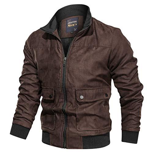 MAYOGO Herren Warm Veloursleder Jacke Freizeitjacke Softshelljacke Cargo Jacke Baumwolle Mantel Jacke (Kaffee, XL)
