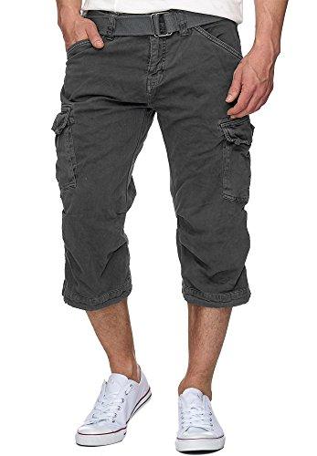Indicode Herren Nicolas Check 3/4 Cargo Shorts kariert mit 6 Taschen inkl. Gürtel aus 100% Baumwolle | Kurze Hose Sommerhose Herrenshorts Short Men Pants Cargohose kurz für Männer in Raven Large