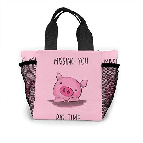 Missin You Pig Time Handbag Women Fashion Bag Reusable Shopping Bags Light Handbags High Capacity Gift Bags Food Storage Bags