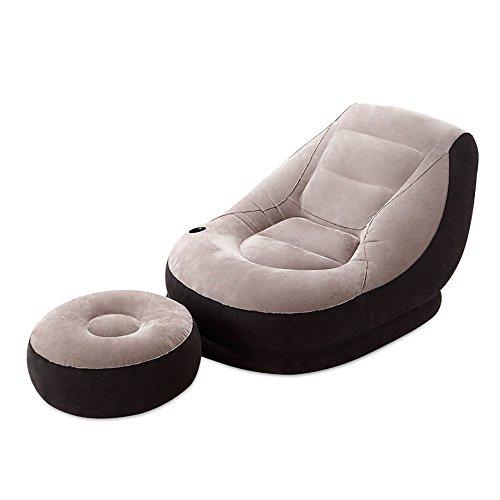 Chaise gonflable de luxe de chaise longue du salon 1 avec la chaise de repos de tabouret de siège (Couleur : Gris)