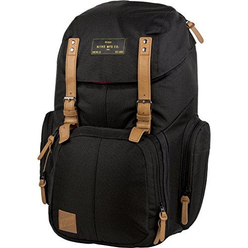 Weekender Alltagsrucksack mit gepolstertem Laptopfach, Schulrucksack, Wanderrucksack inkl. Nassfach, 42 L, True Black