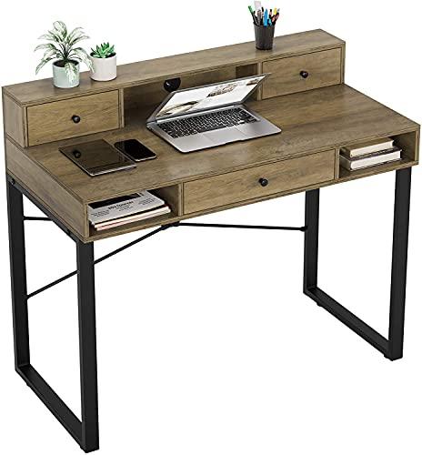 Mesa de Ordenador Vintage Mesa de Computadora con Cajones y Estantes para Almacenamiento Escritorio de PC 107x54x93cm (marrón Claro)