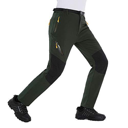 LUI SUI Pantalones de Senderismo Ligeros Softshell para Hombre Pantalones de...