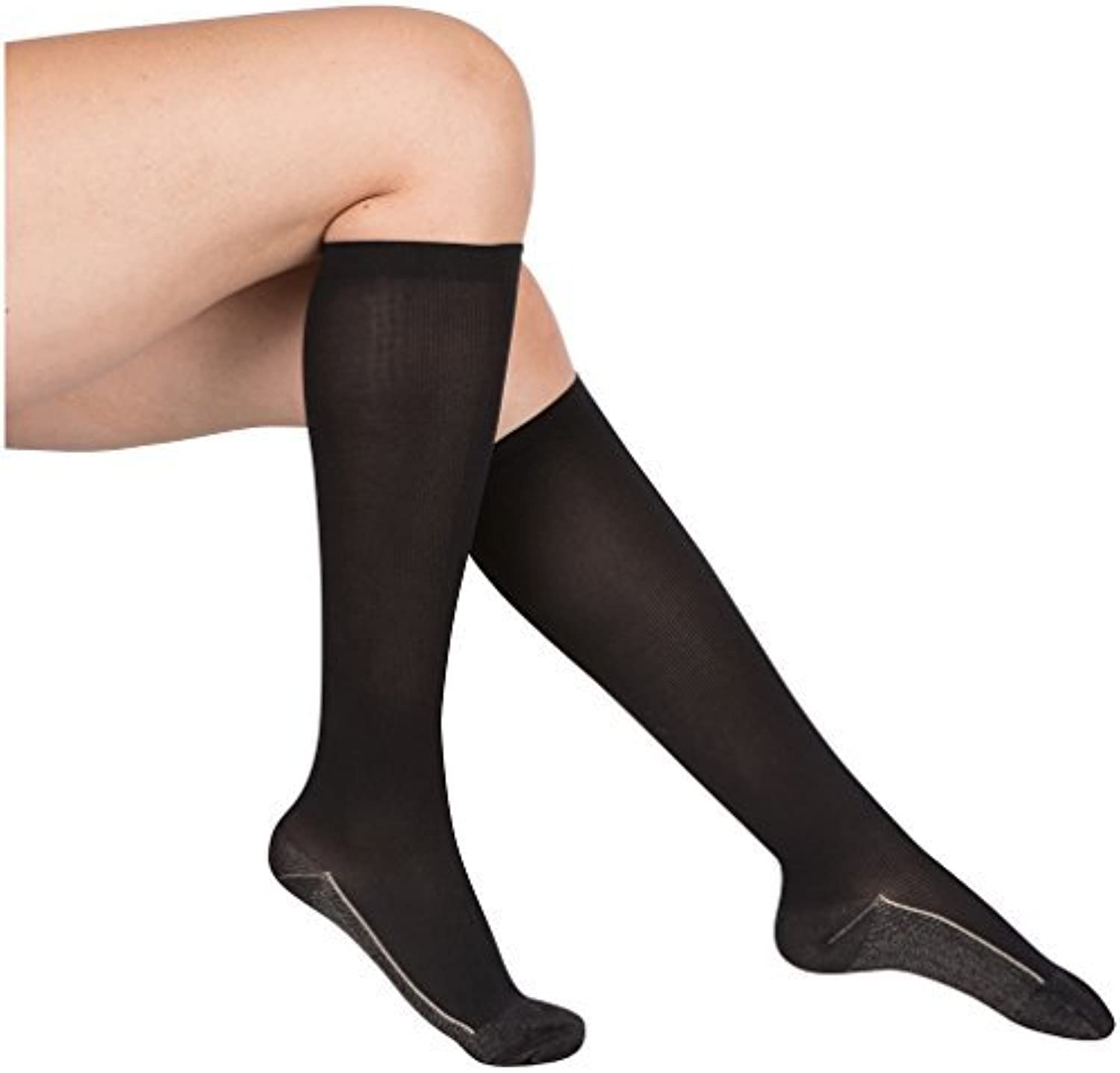 2 Pair EvoNation Women's Copper USA Made Graduated Compression Socks 20-30 mmHg Firm Pressure Medical Quality Knee High Orthopedic Support Stockings Circulation Hose (XL, Black)