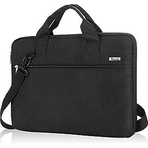 Voova Laptop Sleeve Case Business Bag Shoulder Bag with Strap Waterproof for 15.6 17.3 inches Computer for Men Ladies,Black,Grey,Blue,Purple