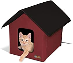 K&H Manufacturing Outdoor Kitty House, 18 x 22 x 17-Inches, Heated - Barn Red/Black