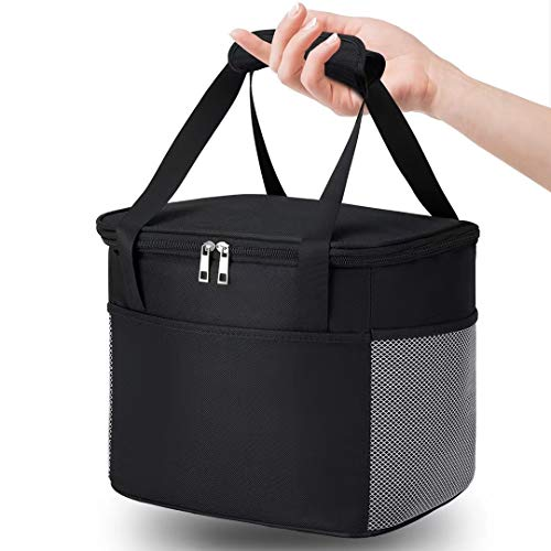Snepon Lunch Bag for Men/Women, 15L Insulated Lunch Box for Kids with Side Pockets and Water Bottle Holder, Large Leakproof Lunch Tote Cooler Bag for Work/Office/School/Picnic/Beach( Black)