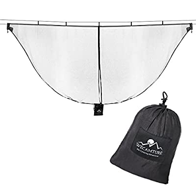 Wecamture Hammock Bug Mosquito Net XL 11x4.6FT No-See-Ums Polyester Fabric for 360 Degree Protection Dual Sided Diagonal Zipper for Easy Access Fits All Hammocks