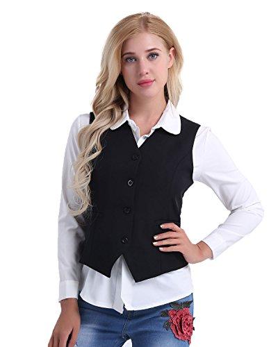 iEFiEL Damen Anzugweste Ladies Waistcoat Formal Business Weste Taillierte Weste Basic Schwarz/Rot Größen S-XXL Schwarz Small