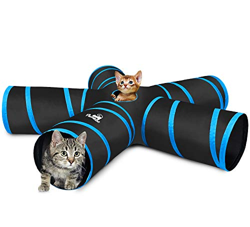 Pawaboo Cat Tunnel Tube, Premium 5-Way Tunnels Extensible Collapsible Cat Play Tent Interactive Toy Maze Cat House Bed with Balls and Bells for Cat Puppy Kitten Rabbit, Black & Light Blue