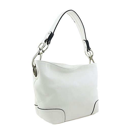 Small Hobo Shoulder Bag with Snap Hook Hardware White